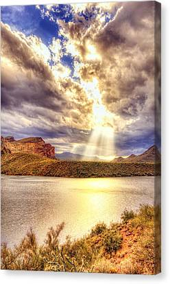 Canvas Print featuring the photograph Saguaro Sun Rays  by Anthony Citro