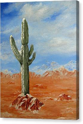 Canvas Print featuring the painting Saguaro In Snow by Roseann Gilmore