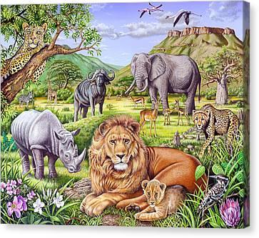 Saharan Animal Gathering Canvas Print
