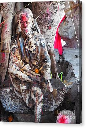 Sai Baba - Resting At Pushkar Canvas Print by Agnieszka Ledwon