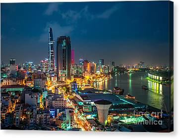 Canvas Print - Saigon Aerial Night Skyline by Fototrav Print