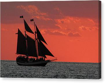 Key West Sunset Sail 5 Canvas Print by Bob Slitzan