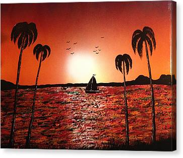 Canvas Print featuring the painting Sail Away by Michael Rucker