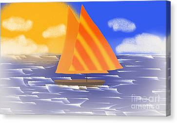 Sail Away On A Foggy Day  Canvas Print by Andee Design