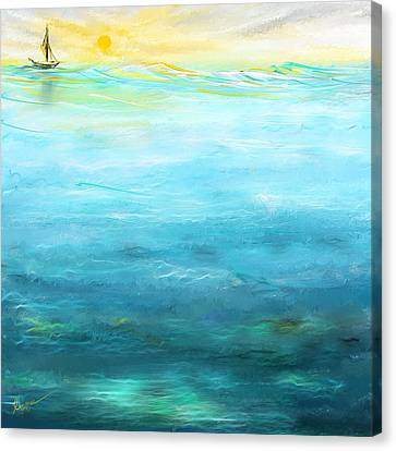 Sail Away- Sailing At Sunset Painting Canvas Print by Lourry Legarde