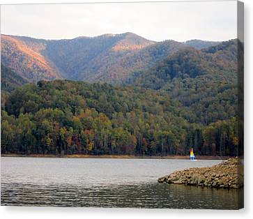 Sail Boat And Mountains Canvas Print