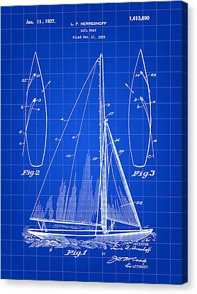 Sail Boat Patent 1925 - Blue Canvas Print by Stephen Younts