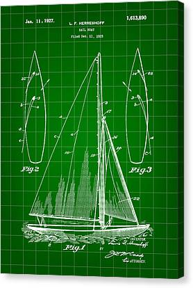 Sail Boat Patent 1925 - Green Canvas Print by Stephen Younts