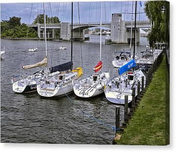 Sail Boats 4 In A Row Canvas Print by Thomas Woolworth