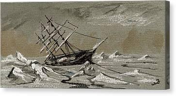 Sail Ship Arctic Canvas Print by Juan  Bosco
