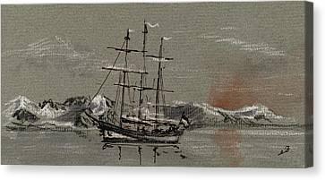 Sail Ship At The Arctic Canvas Print by Juan  Bosco
