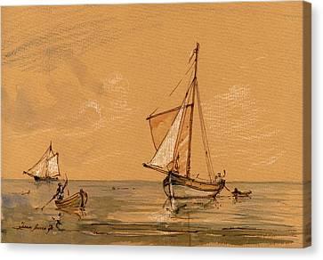 Sail Ship Canvas Print by Juan  Bosco