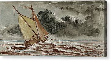 Sail Ship Stormy Sea Canvas Print by Juan  Bosco