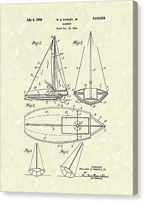 Sailboat 1948 Patent Art Canvas Print by Prior Art Design