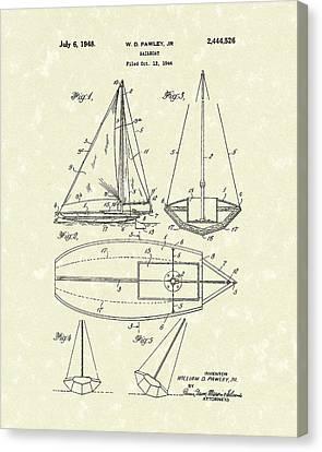 Sailboats Canvas Print - Sailboat 1948 Patent Art by Prior Art Design
