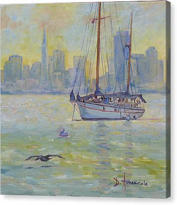 Sailboat Anchored At Sunset Canvas Print by Dominique Amendola