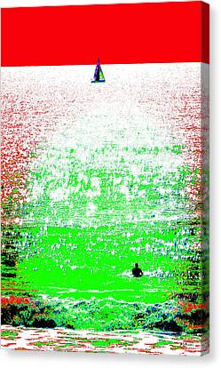 Sailboat And Swimmer -- 2a Canvas Print by Brian D Meredith