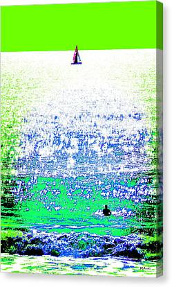 Sailboat And Swimmer -- 2b Canvas Print by Brian D Meredith