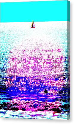 Sailboat And Swimmer -- 2d Canvas Print by Brian D Meredith