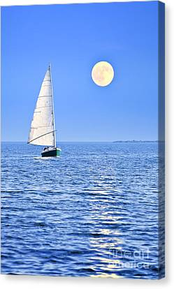 Sailboat At Full Moon Canvas Print