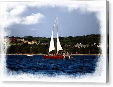 Canvas Print featuring the photograph Sailboat At Lake Ray Hubbard by Kathy Churchman