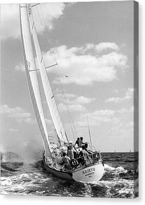 Sailboat Charging The Waves Canvas Print by Retro Images Archive