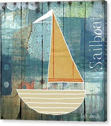 Sailboat Collage Canvas Print by Katie Doucette