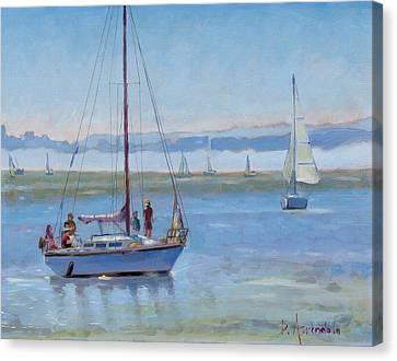 Sailboat Coming To Port Canvas Print by Dominique Amendola