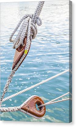 Canvas Print featuring the photograph Sailboat Deadeyes 1 by Leigh Anne Meeks