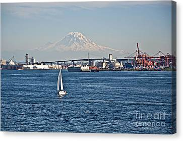 Sailboat Foreground Mt Rainier Washington Landscape Canvas Print