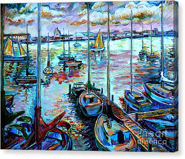 Sailboat Harbor Canvas Print by Stan Esson