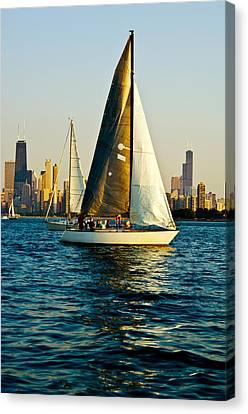 Sailboat In A Lake, Lake Michigan Canvas Print by Panoramic Images
