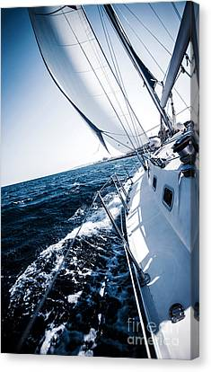 Sailboat In Action Canvas Print