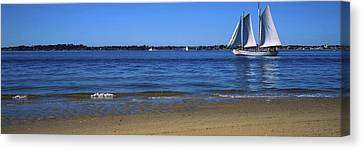 Sailboat In Ocean, Provincetown, Cape Canvas Print by Panoramic Images