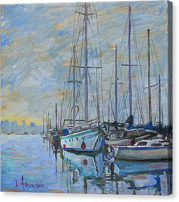 Sailboat In The Evening Fog Canvas Print by Dominique Amendola