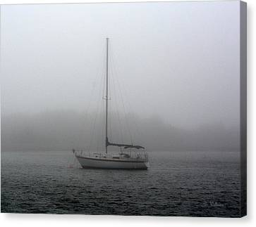 Sailboat In The Fog Canvas Print by Dan Williams
