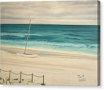 Sailboat In The Ocean Breeze Canvas Print by Tina Stoffel