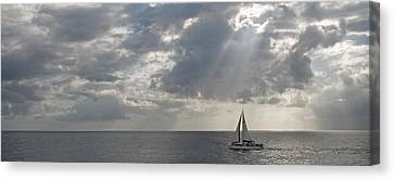 Sailboat In The Sea, Negril, Jamaica Canvas Print by Panoramic Images