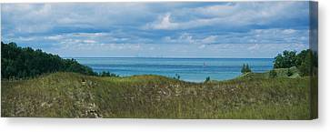 Sailboat In Water, Indiana Dunes State Canvas Print by Panoramic Images
