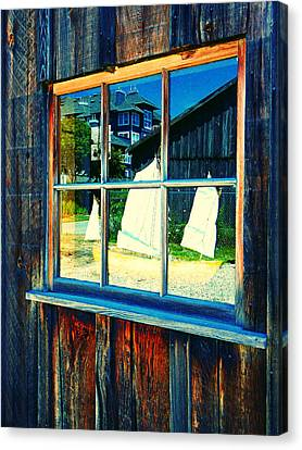 Sailboat In Window 2 Canvas Print by Laurie Tsemak