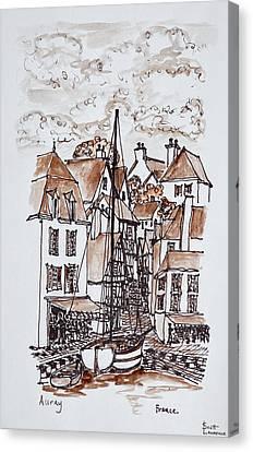 Sailboat Moored In Saint-goustan Port Canvas Print