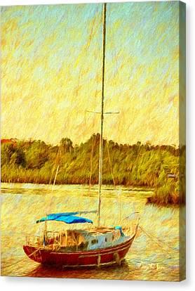Boating - Coastal - Sailboat On The Bayou  Canvas Print by Barry Jones