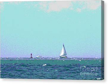 Nautical Canvas Print - Sailboat On The Horizon by Cathy Lindsey