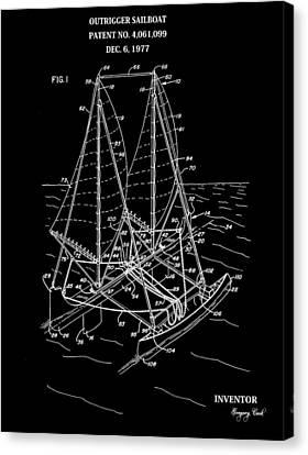 Sailboat Patent Black And White Canvas Print