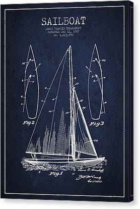 Sailboat Patent Drawing From 1927 Canvas Print by Aged Pixel