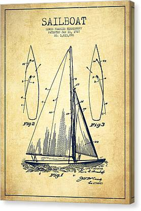 Sailboat Patent Drawing From 1927 - Vintage Canvas Print by Aged Pixel