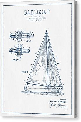Sailboat Patent Drawing From 1938  -  Blue Ink Canvas Print by Aged Pixel
