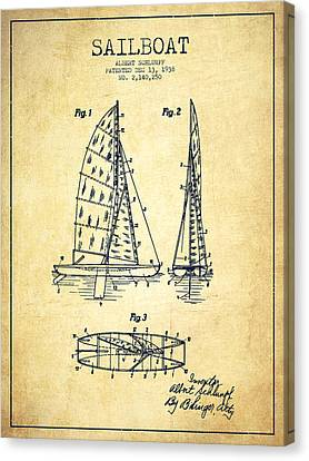 Sail Boats Canvas Print - Sailboat Patent Drawing From 1938 - Vintage by Aged Pixel