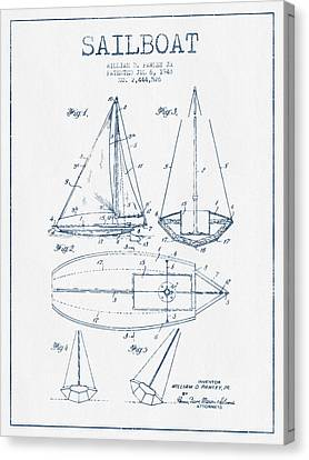 Sailboat Patent Drawing From 1948  -  Blue Ink Canvas Print by Aged Pixel