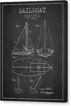 Sail Boats Canvas Print - Sailboat Patent Drawing From 1948 by Aged Pixel